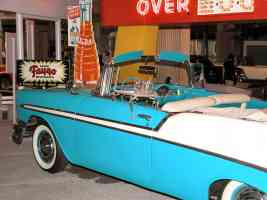 1956 Chevrolet Bel Air Convertible Aqua White Front Clip Showing A W Drive In Door Tray H Ford Museum N