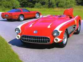 1956 Chevrolet Corvette SR 2 Race Car Red fvl 1990 Corvette ZR 1 Red rvl