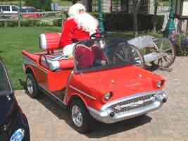 1957 Chevrolet Gas Powered Utility Cart with Santa Claus Driving Canterbury Village Car Show F