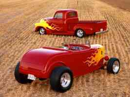 Fire in the Field 1932 Ford Roadster and 1952 Chevrolet Truck