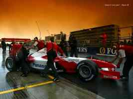 toyota f1 car backed into pits