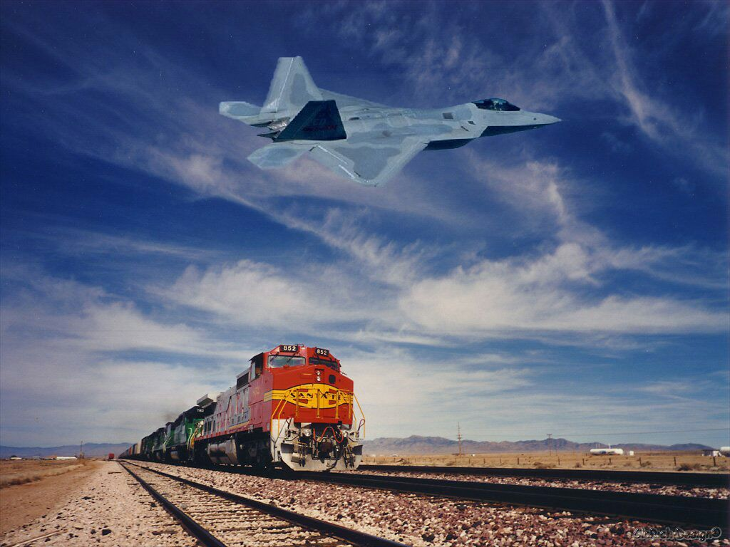 Santa Fe Train And Jet Plane Flyover