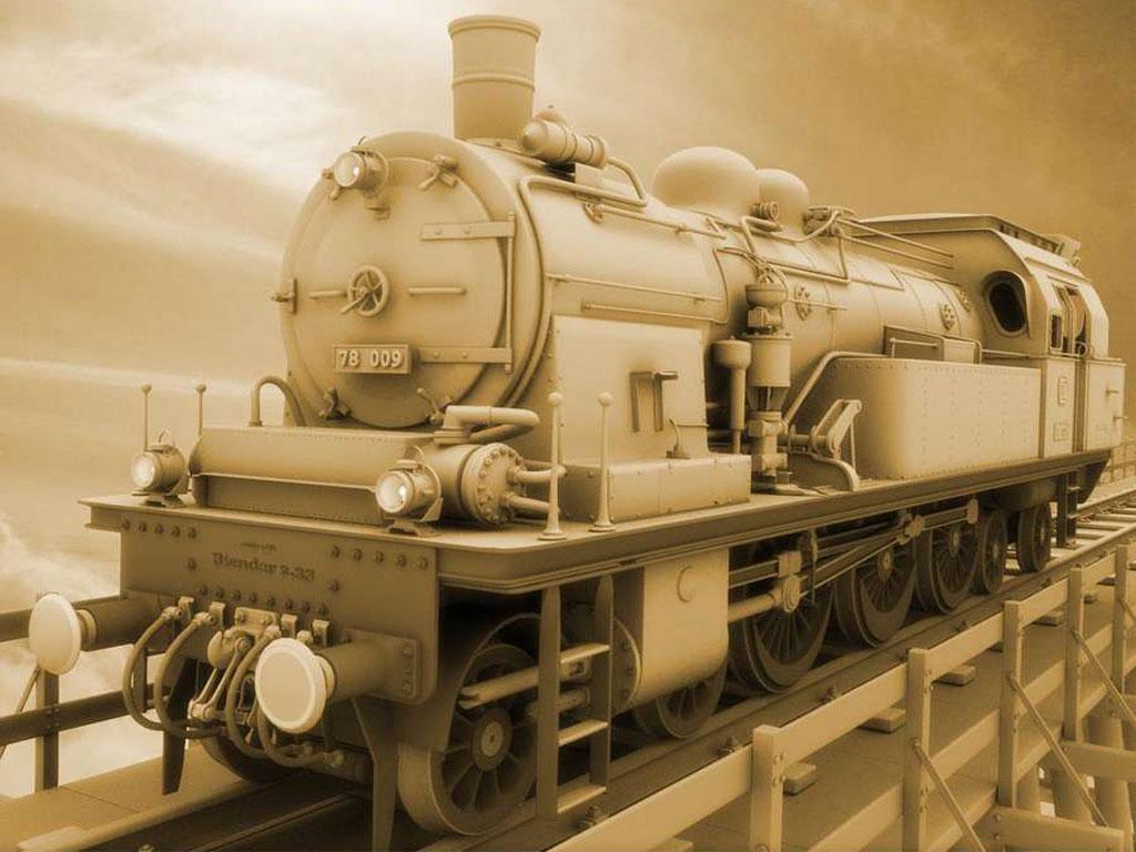 Sepia Steam Train