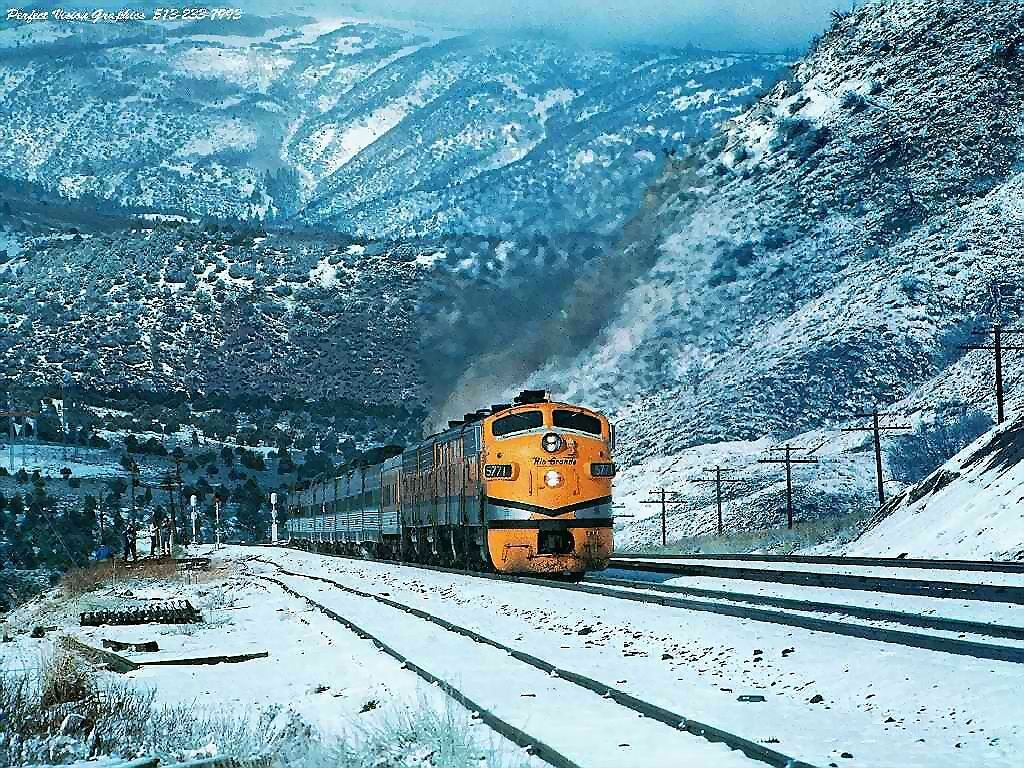 Train In Snowy Mountains