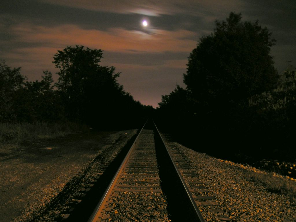 Train Track In The Moonlight
