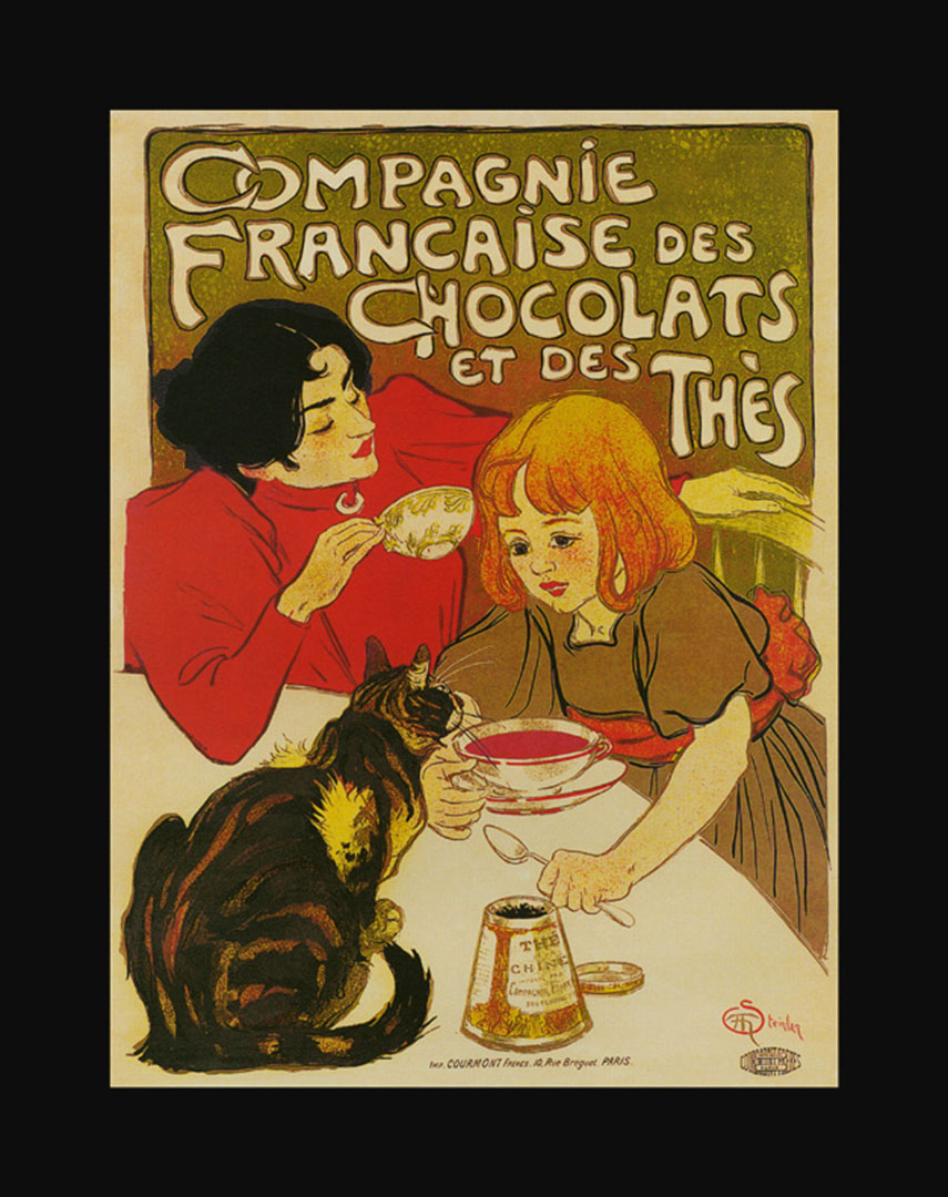Tea Chocolate And Cat - Vintage French Posters