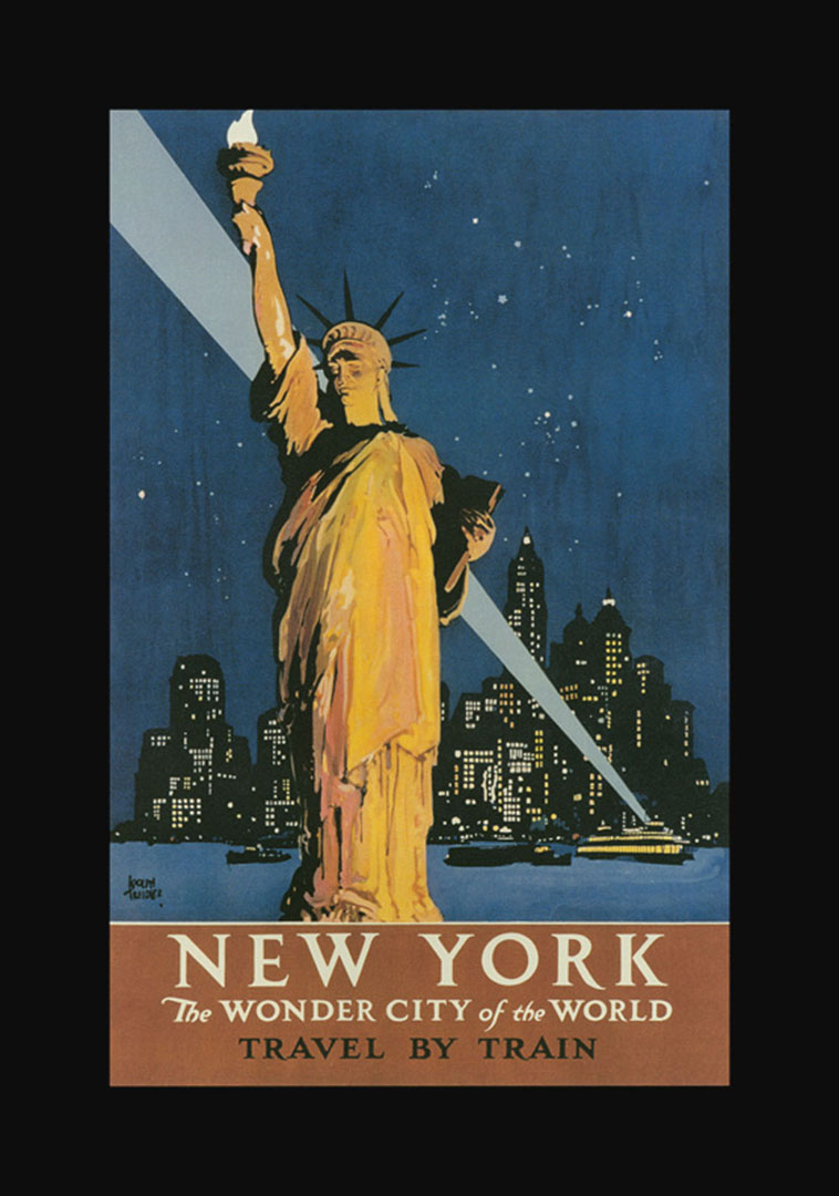 new york statue of liberty vintage railway posters. Black Bedroom Furniture Sets. Home Design Ideas