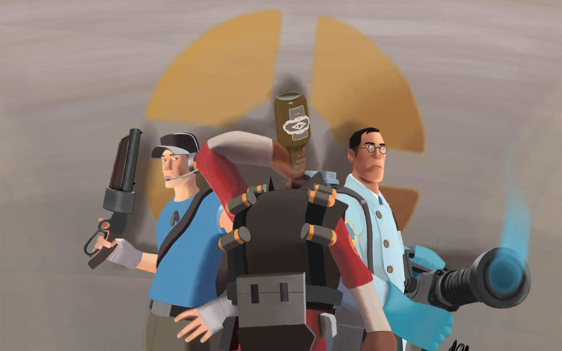 Scout Medic And Demoman Taking A Swig Of Booze