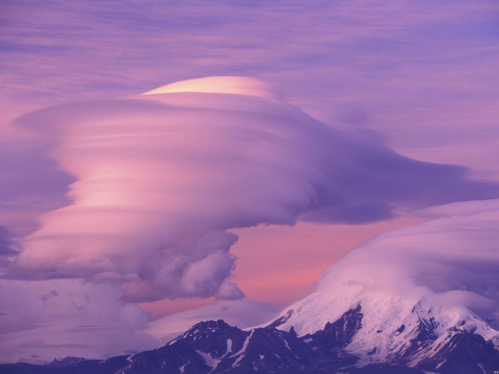 Nature Lenticular Clouds Over Mount Drum Alaska