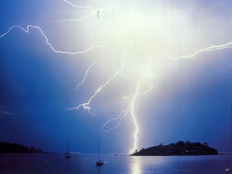 Blinding Lightning Over Lake