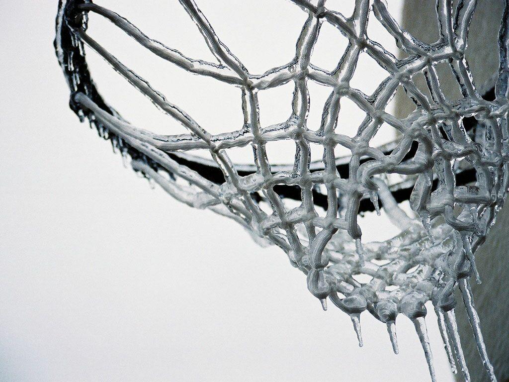 Basketball Net After Sudden Freeze