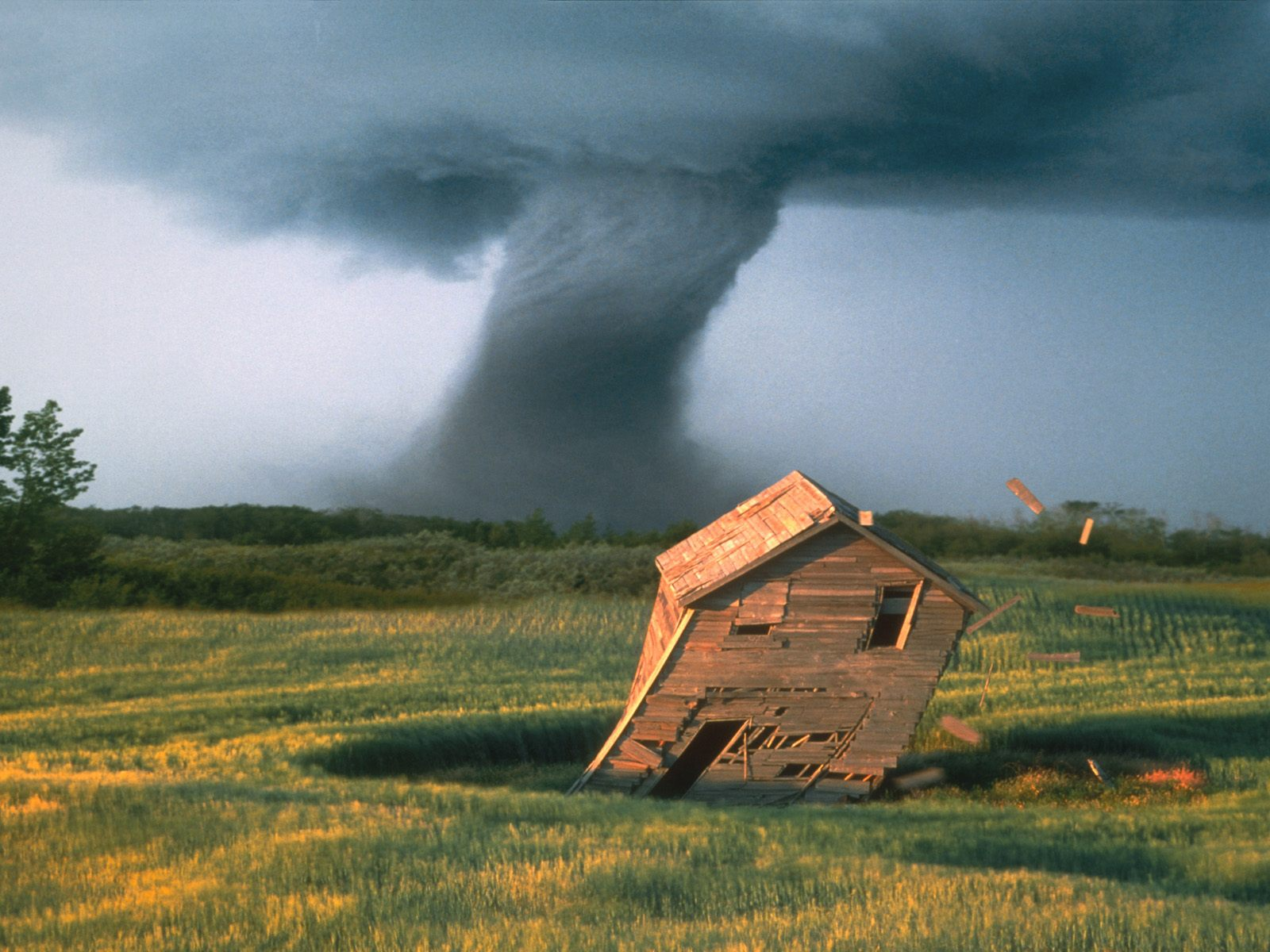 Tornado destroying barn weather wallpaper image featuring tornadoes
