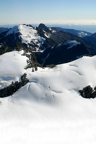 Snowy Snowy Mountain Aerial View