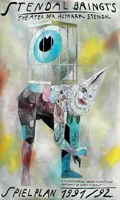 Surreal Caged Eyeball On A Clown