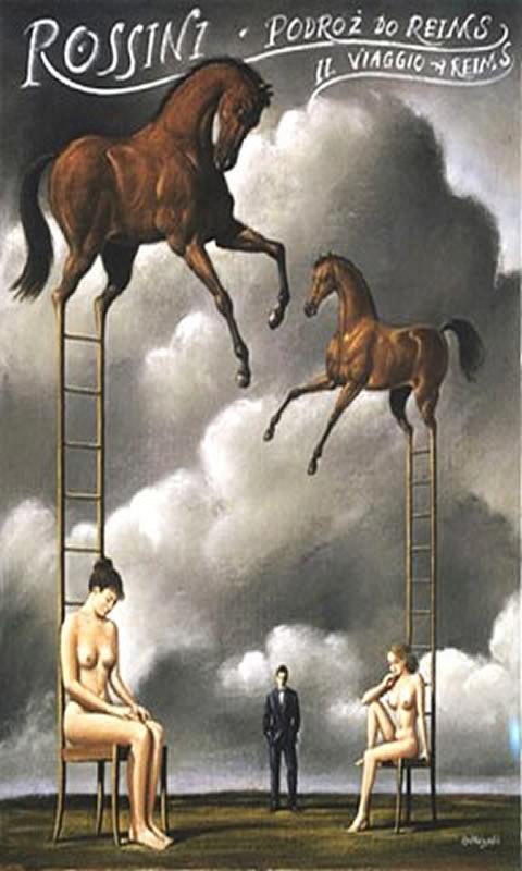 Surreal Rossini Horses On Ladders