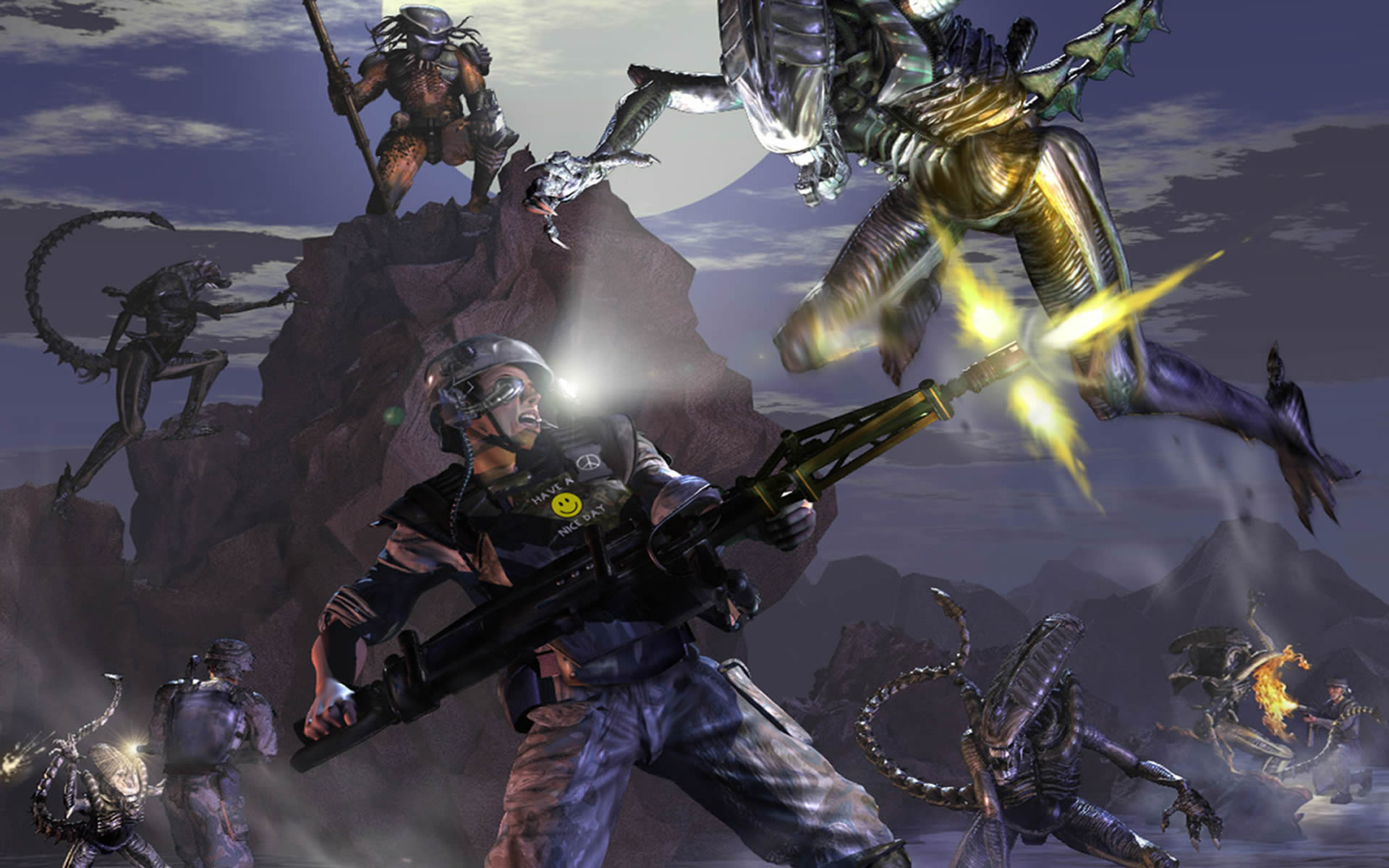 predators aliens and marines in fight Wallpaper Background thumbnail