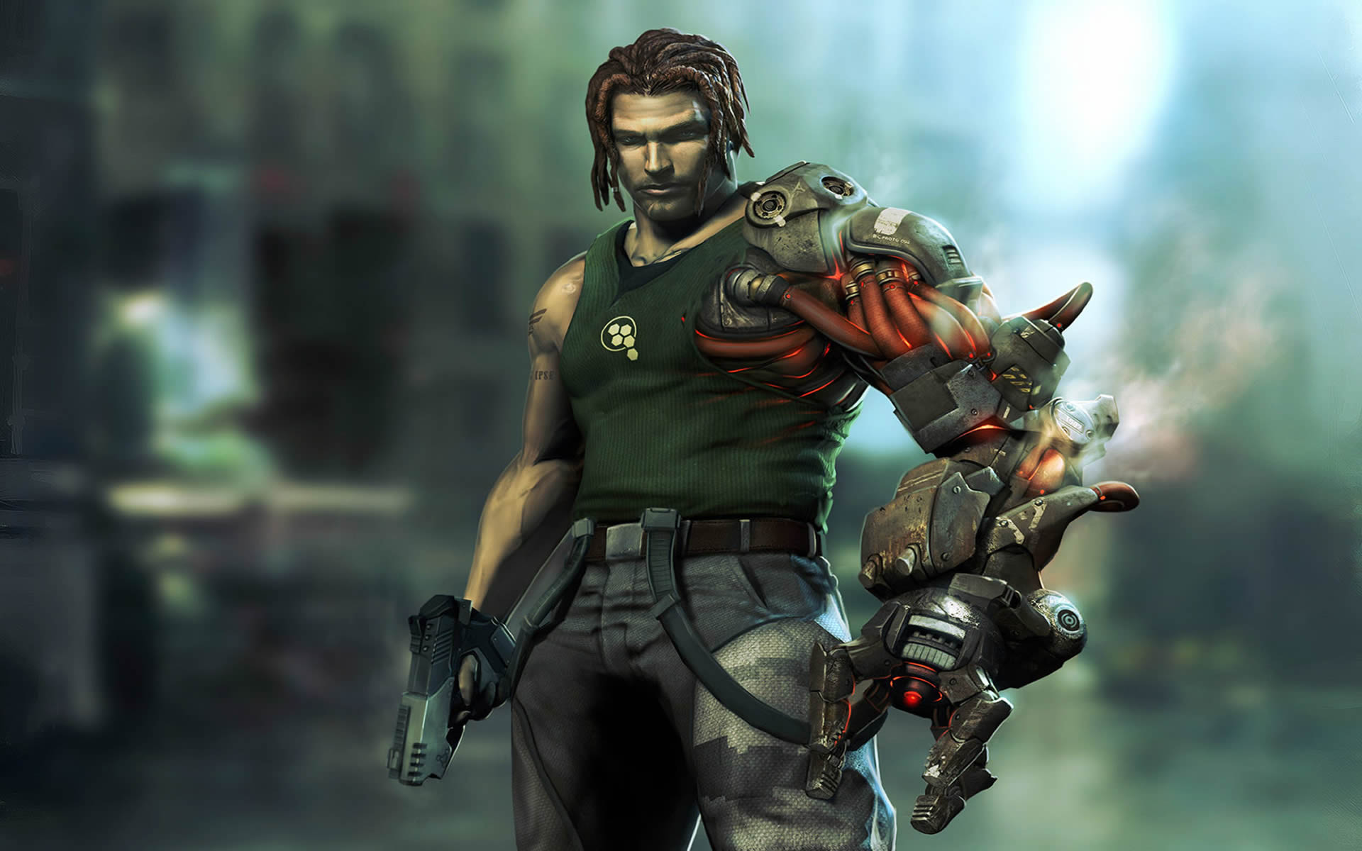 posing with gun and grapple arm Wallpaper Background thumbnail