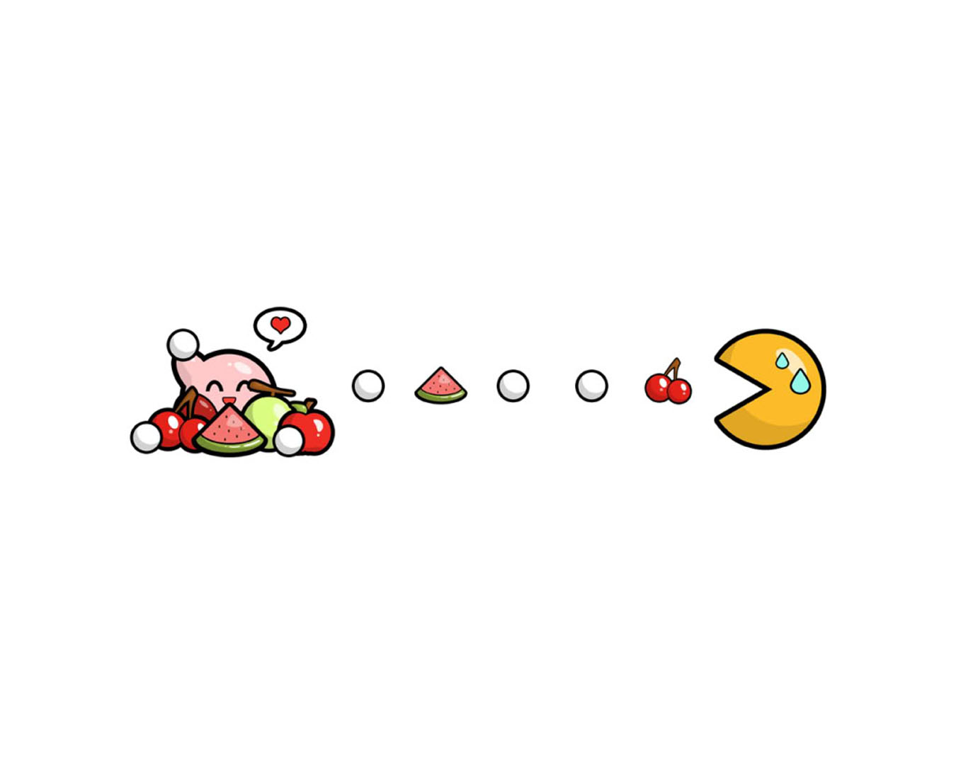 pacman and fruit Wallpaper Background thumbnail