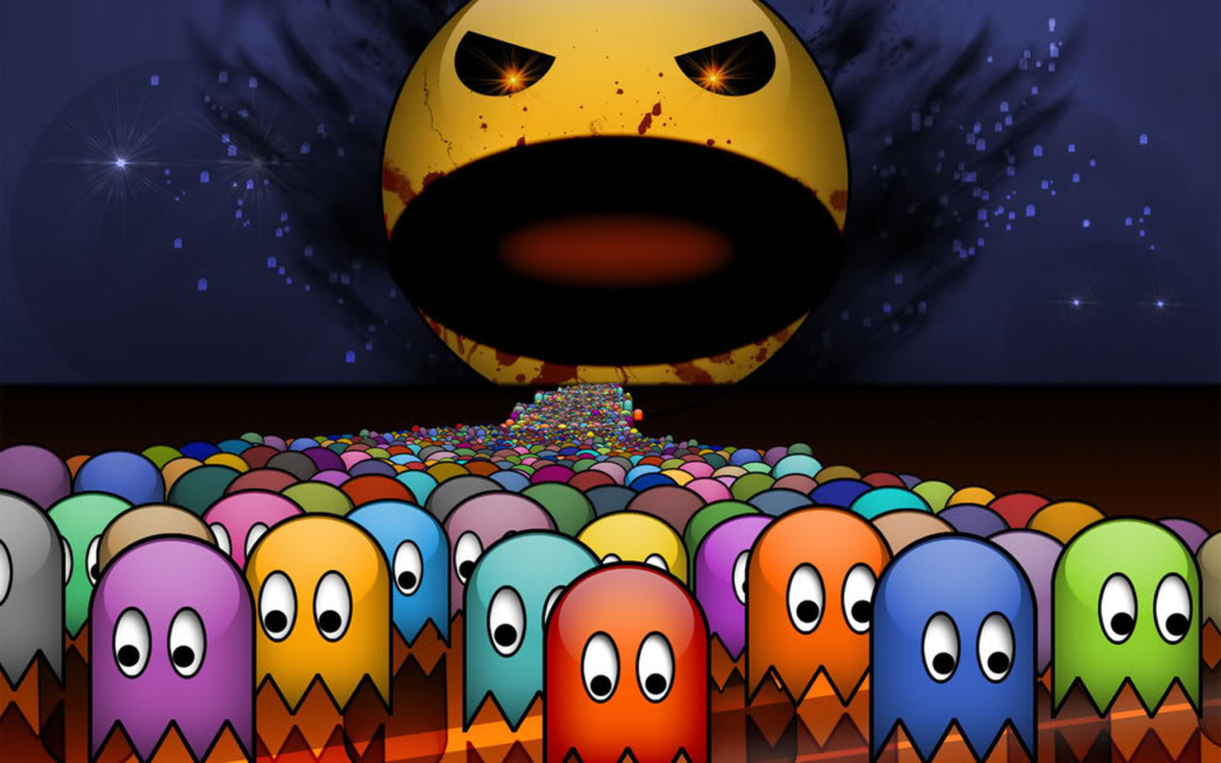 pacman ghosts nightmare Wallpaper Background thumbnail