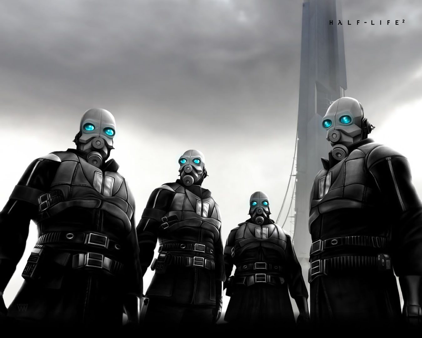 Combine Police Hanging Out At The Citadel Half Life 2 Wallpaper