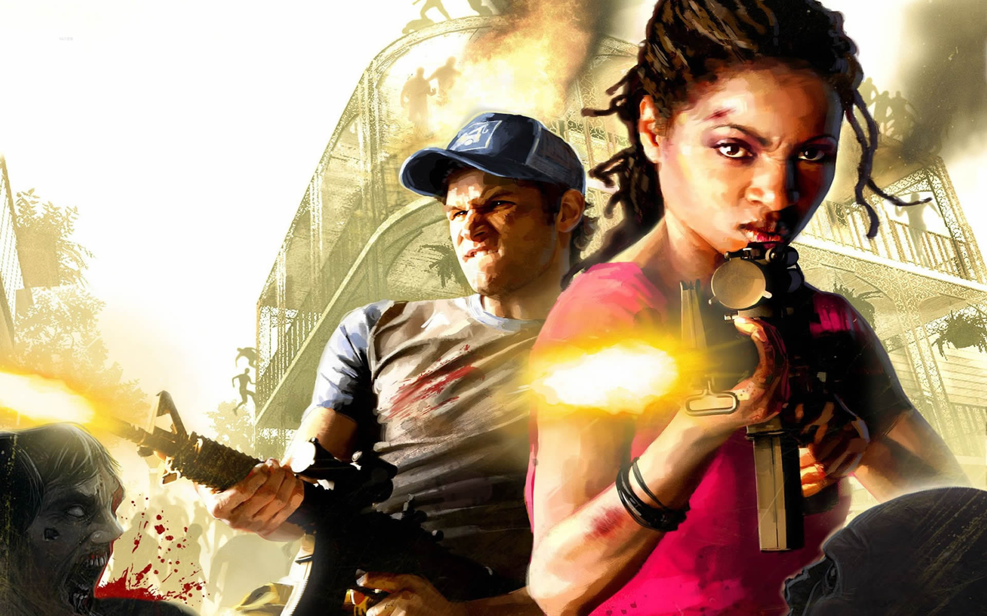 Nick And Rochelle With Machine Guns Left 4 Dead 2 Wallpaper